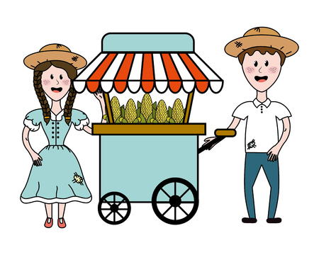 Food cart with cartoon man and woman design, Fair snack carnival fun and festival theme Vector illustration
