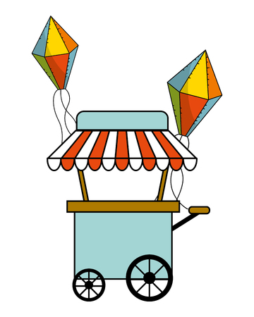 Food cart with balloons design, Fair snack carnival fun and festival theme Vector illustration 矢量图像