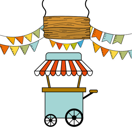 Food cart with pennant design, Fair snack carnival fun and festival theme Vector illustration