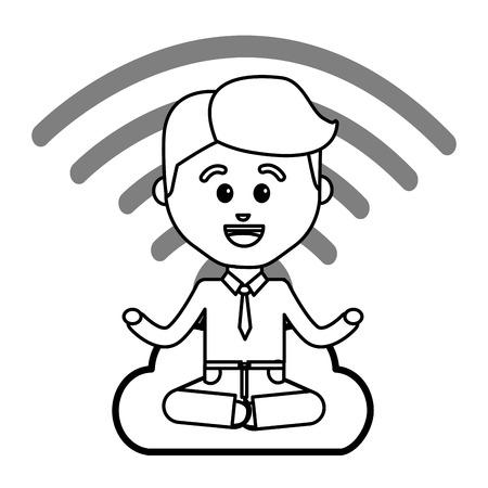 Boy cartoon design, Web hosting data center base and security system theme Vector illustration