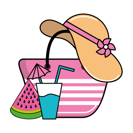 summer beach elements hat with drink and watermelon with bag cartoon vector illustration graphic design