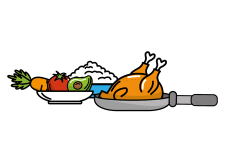 delicious food chicken with rice and vegetables cartoon vector illustration graphic design