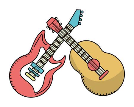 music instrument guitars cartoon vector illustration graphic design