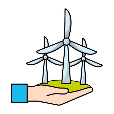 ecological green wind power cartoon vector illustration graphic design Ilustração Vetorial