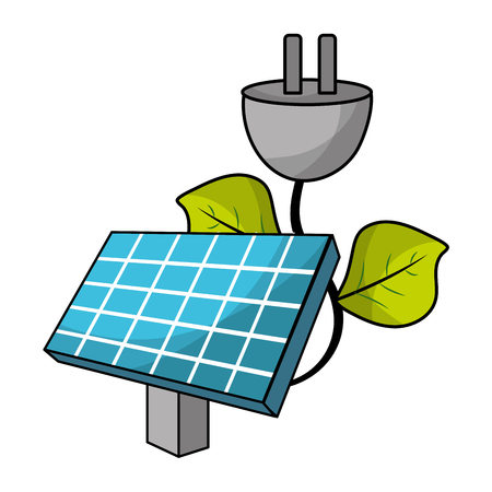 ecological green solar panel with nature plug cartoon vector illustration graphic design