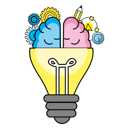 idea light bulb gears with brain cartoon vector illustration graphic design