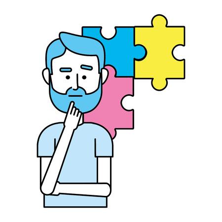 idea working with puzzle cartoon vector illustration graphic design