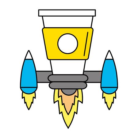 idea working coffee in rocket taking off cartoon vector illustration graphic design