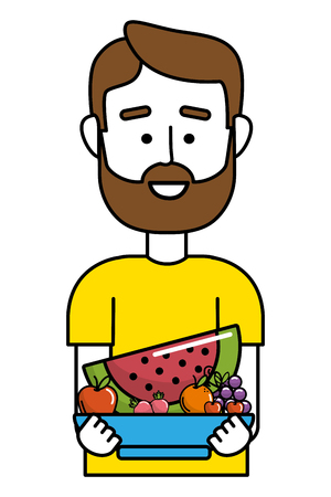 upperbody man with fresh and gourmet salad on bowl cartoon vector illustration graphic design