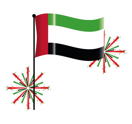 united arab emirates flag with gunpowder cartoon vector illustration graphic design