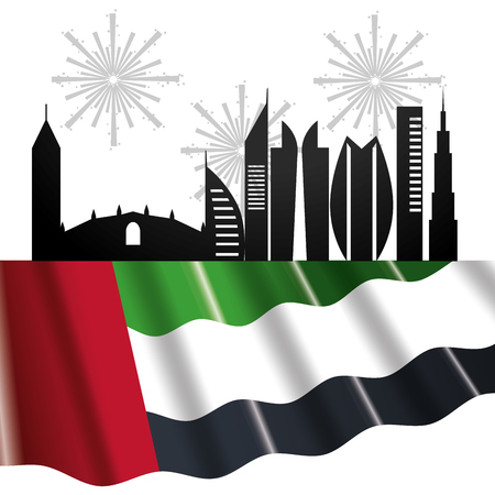 united arab emirates flag with city landscape and gundpowder cartoon vector illustration graphic design