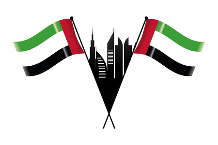 united arab emirates flag with city landscape cartoon vector illustration graphic design Ilustração