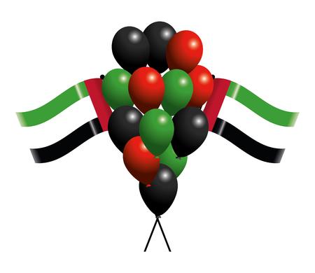 united arab emirates flag with balloons cartoon vector illustration graphic design