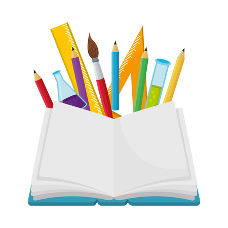 school book with pencils and beaker with ruler and paintbrush cartoon vector illustration graphic design Illustration