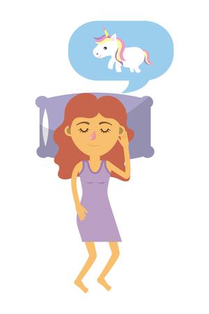 cute woman sleeping and dreaming unicorn speech bubble cartoon vector illustration graphic design Vector Illustration