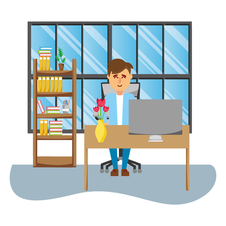 businessman working inside office vector illustration graphic design
