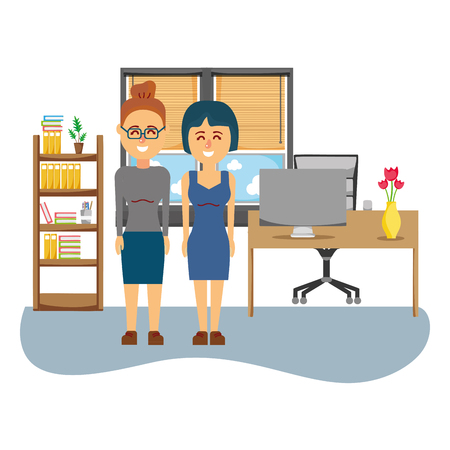 business coworkers friends working inside office cartoon vector illustration graphic design