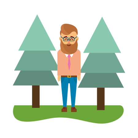 young man body over nature field with trees cartoon vector illustration graphic design