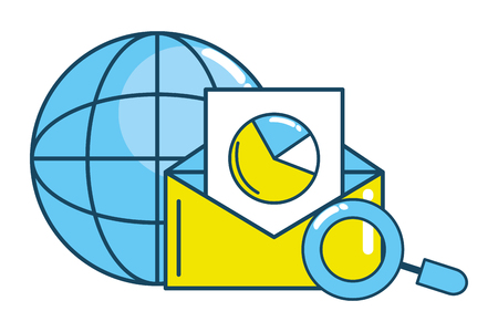 web earth globe icon with magnifying glass analyzing email with stadistics cartoon vector illustration graphic design
