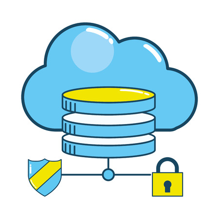 security padlock support with virtual coins connecting with shield security in front cloud cartoon vector illustration graphic design
