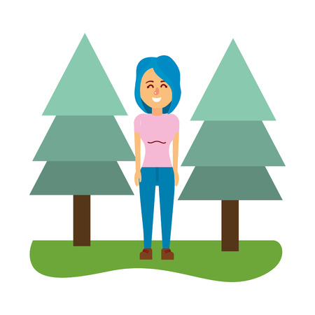 young woman body over nature field with trees cartoon vector illustration graphic design