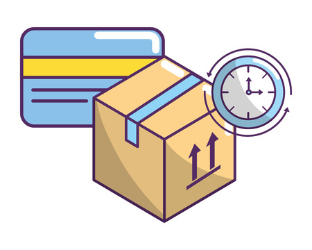 ecommerce online shopping and delivery paper box with credit card and clock vector illustration graphic design Vectores