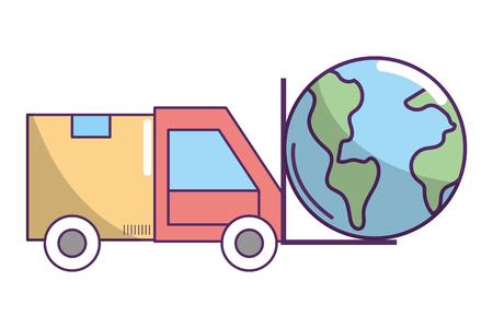 ecommerce online shopping merchandise truck with world cartoon vector illustration graphic design