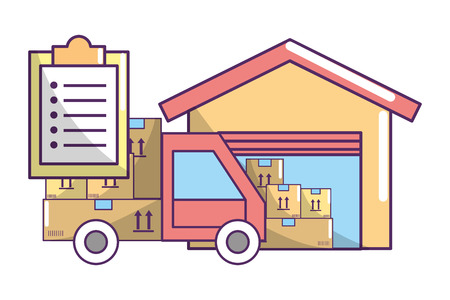 ecommerce online shopping and delivery paper box with merchandise truck arriving warehouse with documents cartoon vector illustration graphic design Vektorové ilustrace