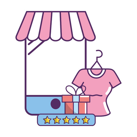 ecommerce online store with gift and blouse with star calificaton cartoon vector illustration graphic design