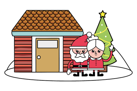 merry christmas santa claus with mrs claus and house with christmas tree cartoon vector illustration graphic design
