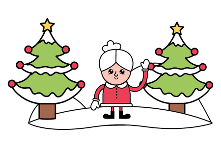 merry christmas mrs claus with christmas trees cartoon vector illustration graphic design