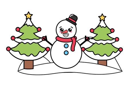 merry christmas snowman with hat and christmas trees cartoon vector illustration graphic design