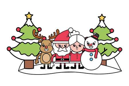 merry christmas santa claus with mrs claus and deer with snowman and christmas tree cartoon vector illustration graphic design