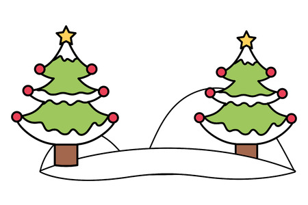 merry christmas trees over snow cartoon vector illustration graphic design