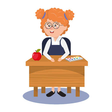 elementary school girl on desk with apple cartoon vector illustration graphic design