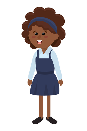 elementary school girl body cartoon vector illustration graphic design Stock Illustratie