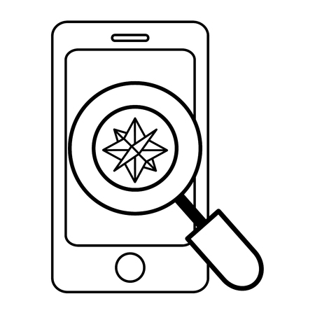 technology computer support magnifying glass analyzing smartphone with compass cartoon vector illustration graphic design