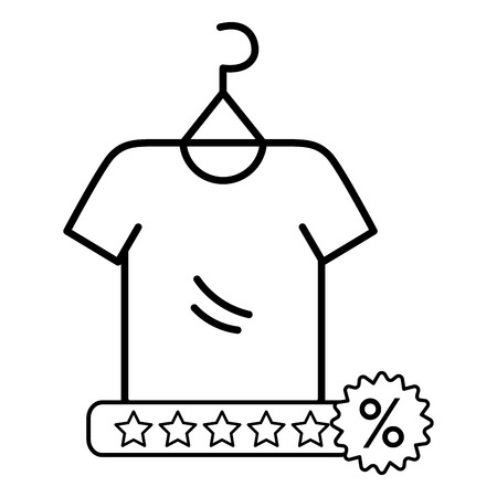 ecommerce online shopping shirt with star calification cartoon vector illustration graphic design