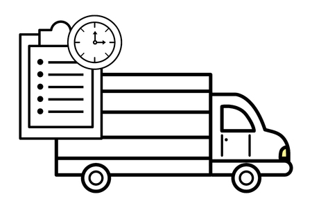 ecommerce online shopping merchandise truck with clock and documents cartoon vector illustration graphic design