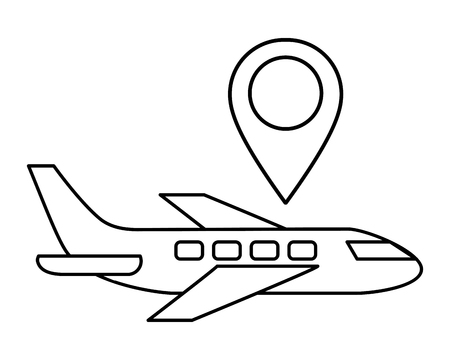 ecommerce online shopping airplane and gps location cartoon vector illustration graphic design Vectores