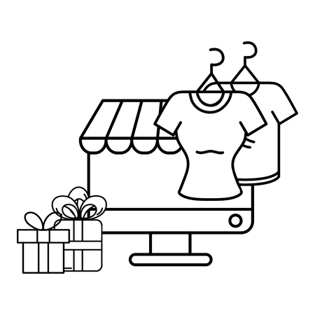 ecommerce online store in computer screen with blouses and gifts cartoon vector illustration graphic design Foto de archivo - 127635637