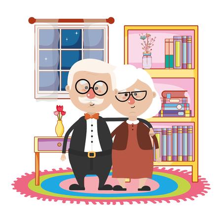 Linda pareja elegante de abuelos en la noche abrazándose en la biblioteca de la casa diseño gráfico de ilustración de vector de dibujos animados Ilustración de vector