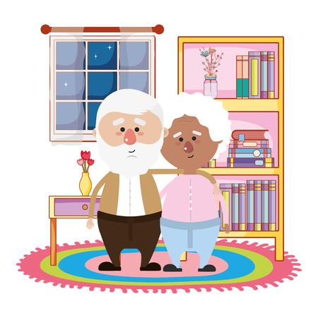Linda pareja de abuelos en la noche abrazándose en la biblioteca de la casa diseño gráfico de ilustración de vector de dibujos animados