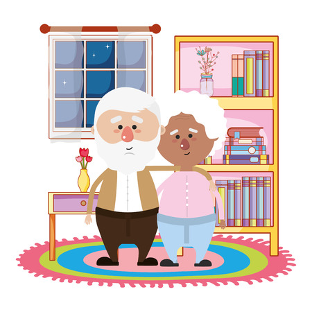 cute grandparents couple at night hugging in the library of the house cartoon vector illustration graphic design