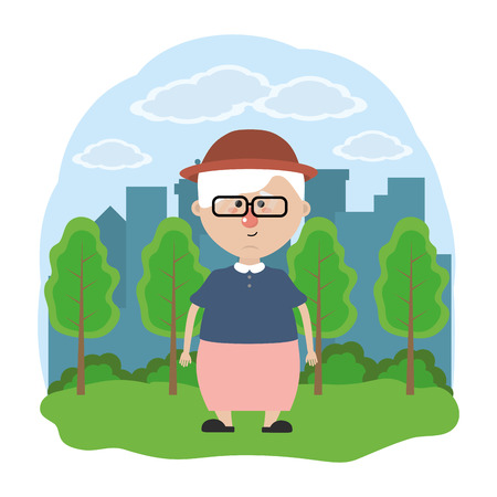 cute grandmother with glasses and hat over nature field in front city landscape cartoon vector illustration graphic design Ilustração
