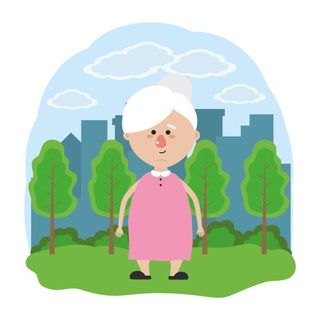 cute grandmother over nature field in front city landscape cartoon vector illustration graphic design Illustration