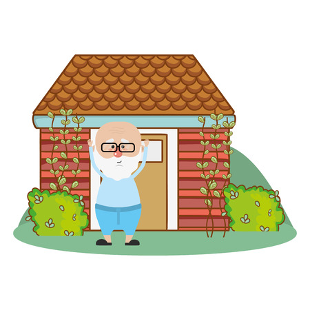 cute grandfather in front house with bush cartoon vector illustration graphic design