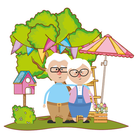 cute grandparents couple over nature field with tree and party decorations with umbrella and bird box cartoon vector illustration graphic design