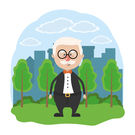 cute grandfather over nature field in front city landscape with glasses cartoon vector illustration graphic design 일러스트