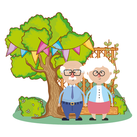 cute grandparents couple over nature field with tree and party decorations cartoon vector illustration graphic design Illustration